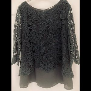 Two Layer Lace Black Top